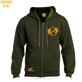 "K9 Pullover, ""Moss"" with zip fastener and hood..."