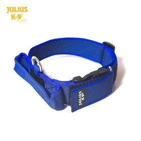 K9 Collar with closable handle and safety lock, variable Labels - 50 mm wide 49-70 cm, nylon, blue 2015