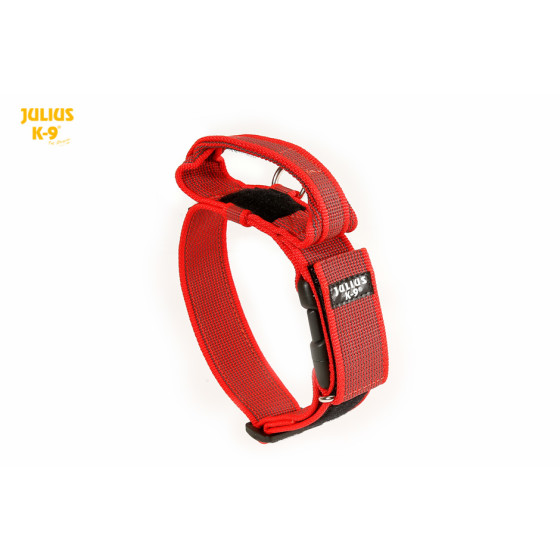 K9 Collar with closable handle and safety lock, variable Labels 50 mm,  wide 49-70 cm, nylon, red 2015