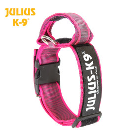 K9 Collar with closable handle and safety lock, variable Labels - 50 mm wide 49-70 cm, nylon, pink 2015