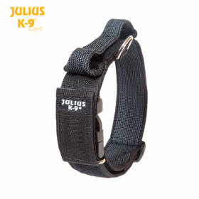 K9 Collar with closable handle and safety lock, variable Labels - 50 mm wide,49-70 cm  nylon, black 2015