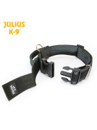 K9 Collar with closable handle and safety lock, variable Labels - 40 mm, 38-53 cm wide, nylon, black 2015