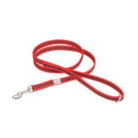 K9 Super-grip leash red - grey diam.14mm / 1,2 m with handle and O ring, max for 30 kg dog