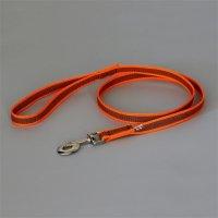 Color & Gray - Gummierte Leine - Orange-Grau 20mm / 1 m mit Schlaufe, max für 50 kg Hunde