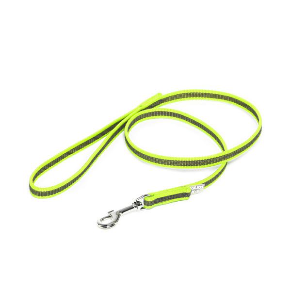 Color & Gray - Gumierte leine -Neon-Grau 14mm / 1 m mit Schlaufe, max für 30 kg Hunde