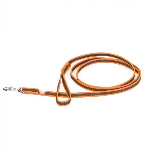 Color & Gray - Gumierte leine -Orange-Grau 14mm / 2 m mit Schlaufe, max für 30 kg Hunde