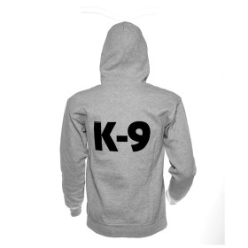 K9 Pullover gray with zip fastener and hood size M