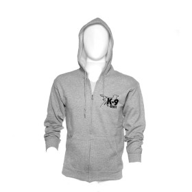 K9 Pullover gray with zip fastener and hood size XXL