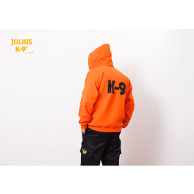 K9 Pullover, orange with zip fastener and hood size M