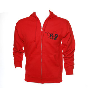 K9 Pullover, red with zip fastener and hood size XL