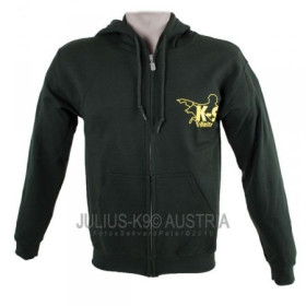 K9 Pullover, forrest green with zip fastener and hood size S
